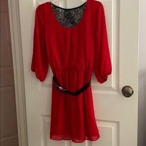 3/4 Sleeve Red Dress